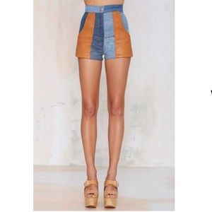 After Party Vintage Nellie Leather Patchwork Short